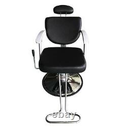 Reclining Black All Purpose Hydraulic Salon Chairs Barber Station Beauty Mat Spa