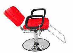 Reclining Classic Hydraulic Barber Chair Salon Beauty Spa Shampoo Red 9837 Red