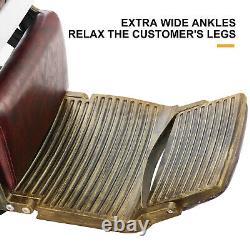 Red Heavy Duty Hydraulic Barber Chair Recline Beauty Salon Spa Shampoo Styling