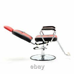 Refurbished Red Hydraulic Recline Barber Salon Chair for Hair Beauty SPA Shampoo