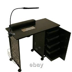 Rolling Manicure Nail Station Black Steel Frame Table Beauty Spa Salon Equipment