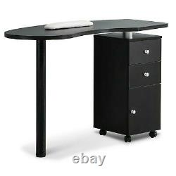 Rolling Manicure Nail Table Station Beauty Spa Salon Equipment with Drawers