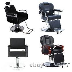 Salon Spa Haircut Barber Chairs Hydraulic Reclining Hair Beauty Equipment Black