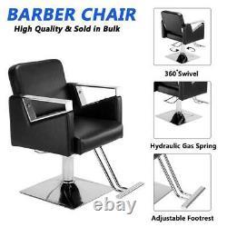 Square Hydraulic Barber Chair Salon Beauty Spa Hair Styling Haircut Equipment