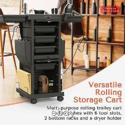 TASALON Salon Trolley Rolling 6 Trays Cart Salon Station for Hair Beauty SPA