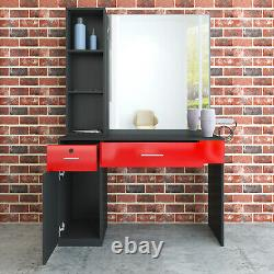 Wall Mount Barber Salon Styling Station Beauty Spa Dressing Table Mirror+Drawer