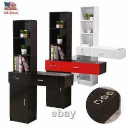 Wall Mount Beauty Salon Spa Cabinet Hair Styling Station Shelf Rack Drawer Desk