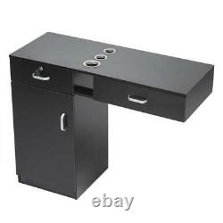 Wall Mount Salon Spa Beauty Cabinet Table Locking Barber Styling Station Black