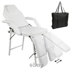 White Beauty Salon Facial Adjustable Bed Tattoo Parlor Spa Massage Table Chair