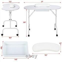 White Portable Manicure Table Folding Nail Desk Beauty Salon Spa withWheels Bag